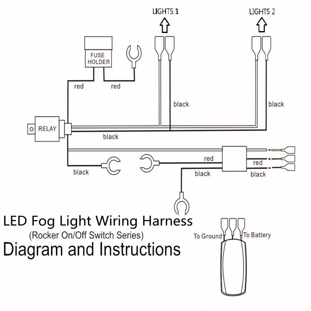 12V 40A Led Fog Light Wiring Harness Laser Rocker Switch Relay Fuse - Fog Light Wiring Diagram With Relay