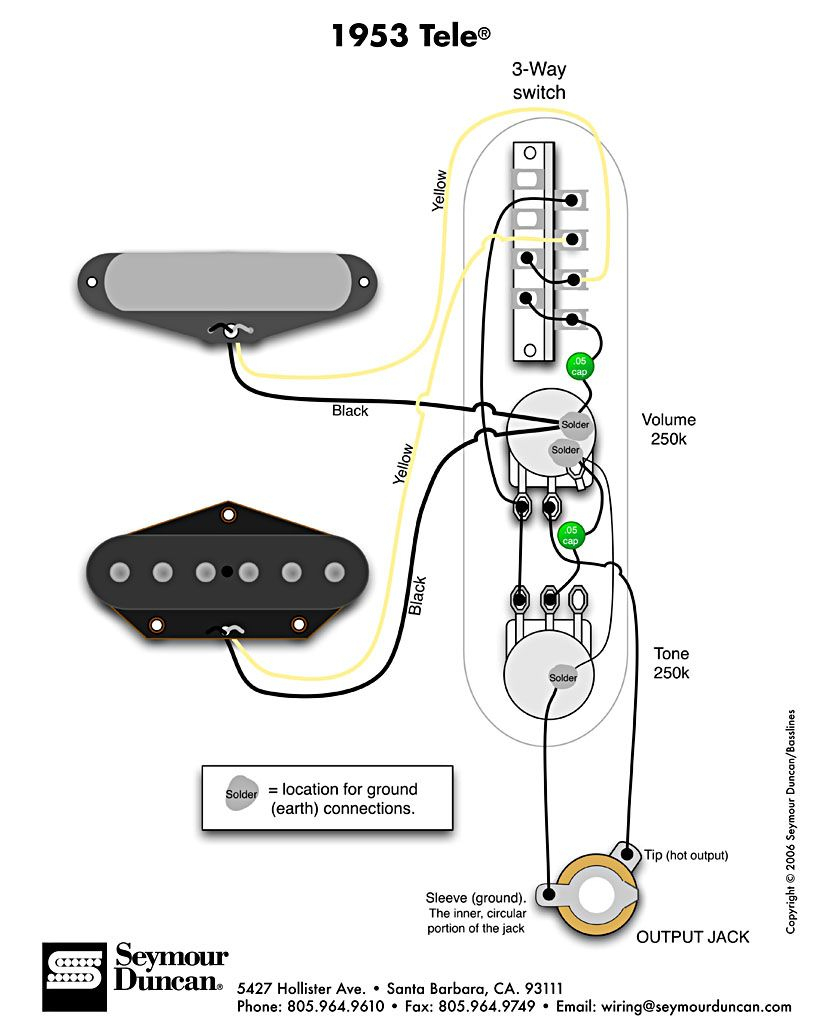 1953 Tele Wiring Diagram (Seymour Duncan) | Telecaster Build - Telecaster Wiring Diagram 3 Way