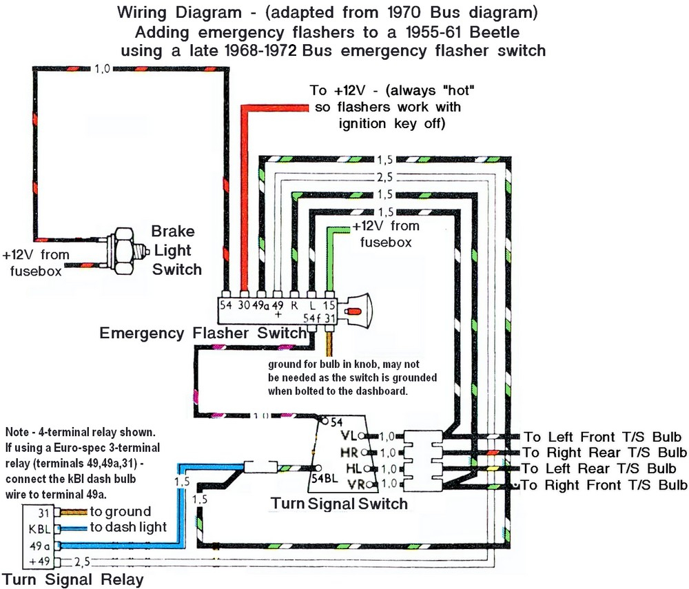 1969 Vw Bug Turn Signal Wiring - Wiring Diagram Explained - Brake And Turn Signal Wiring Diagram