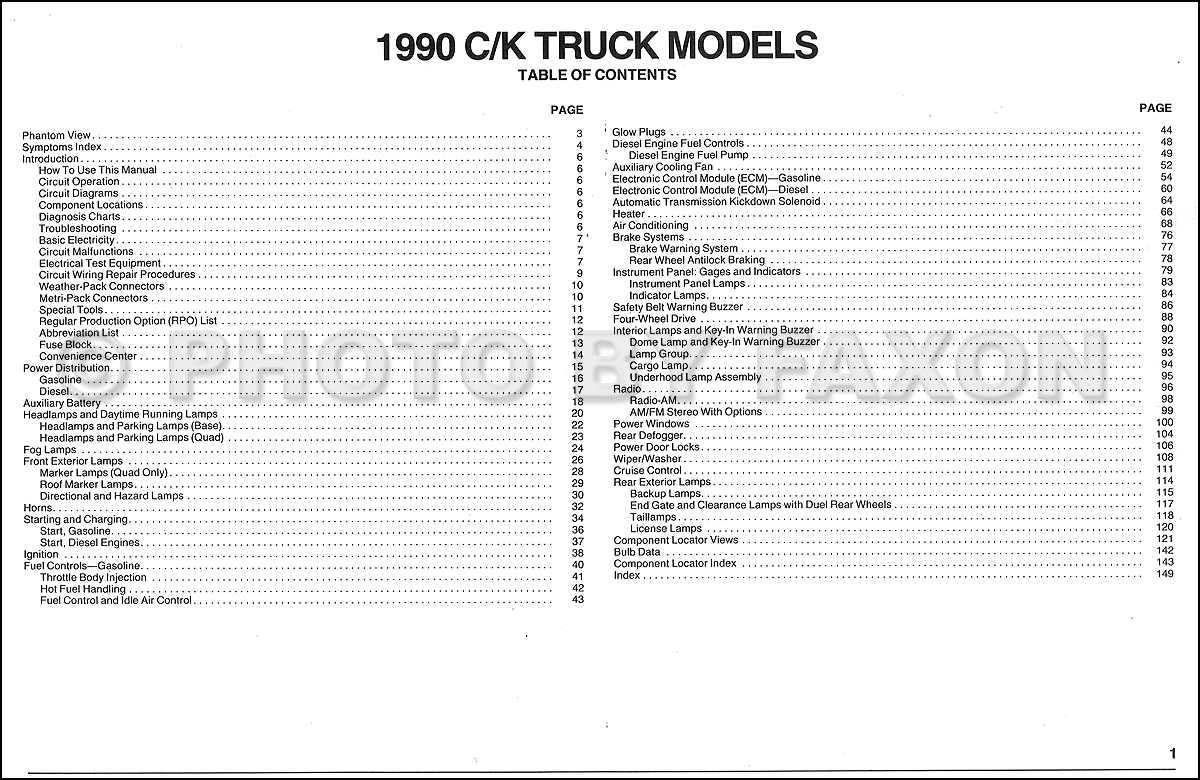 1990 Chevy C/k Pickup Wiring Diagram Manual Original - 1990 Chevy Truck Wiring Diagram