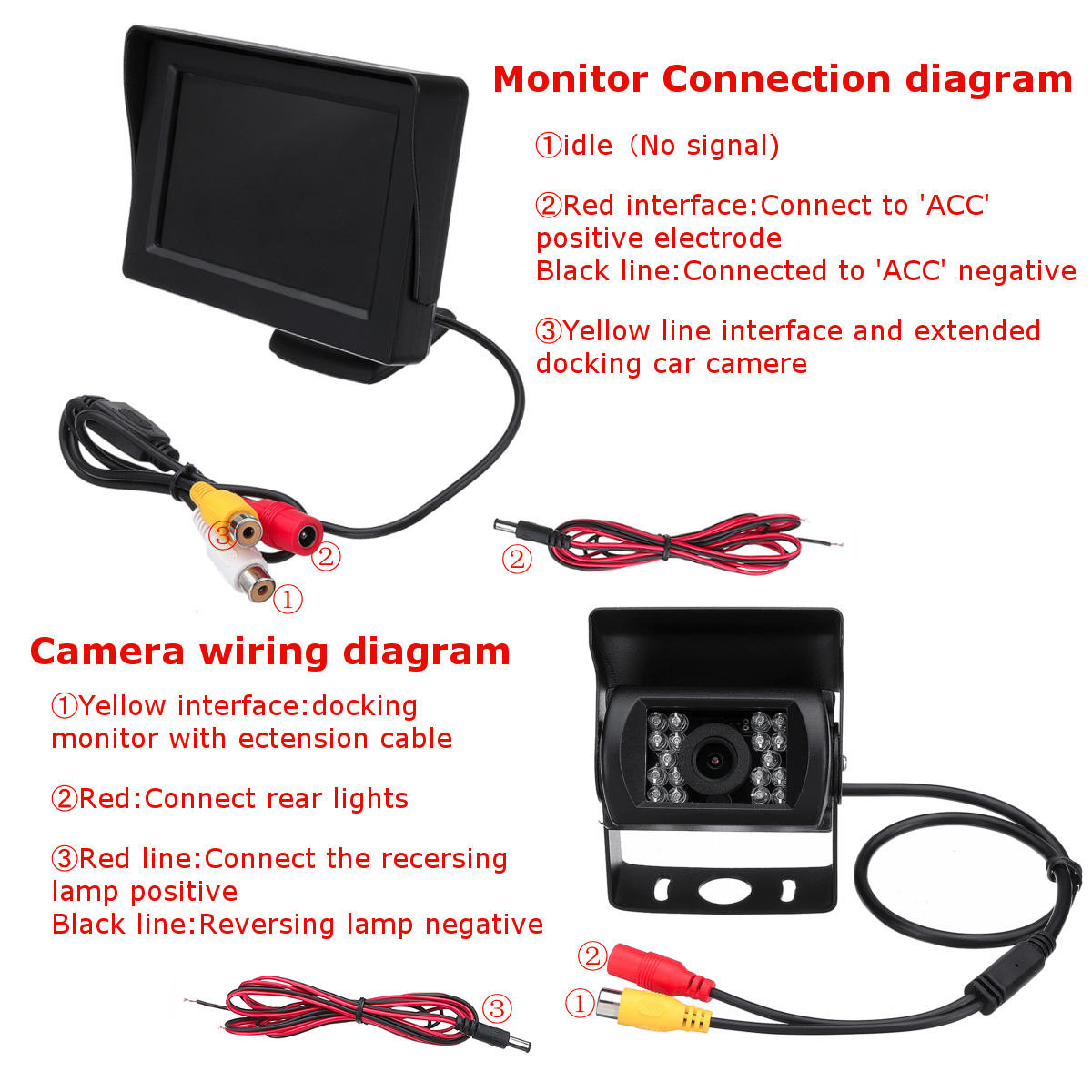 2.4G Wireless Car Rear View Camera+4.3 Inch Monitor For 12-24V Truck - Tft Lcd Monitor Reversing Camera Wiring Diagram