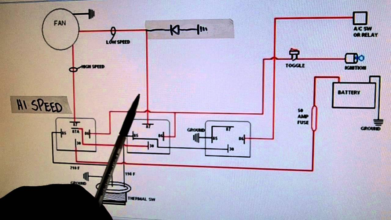 2- Speed Electric Cooling Fan Wiring Diagram - Youtube - 3 Speed Fan Wiring Diagram