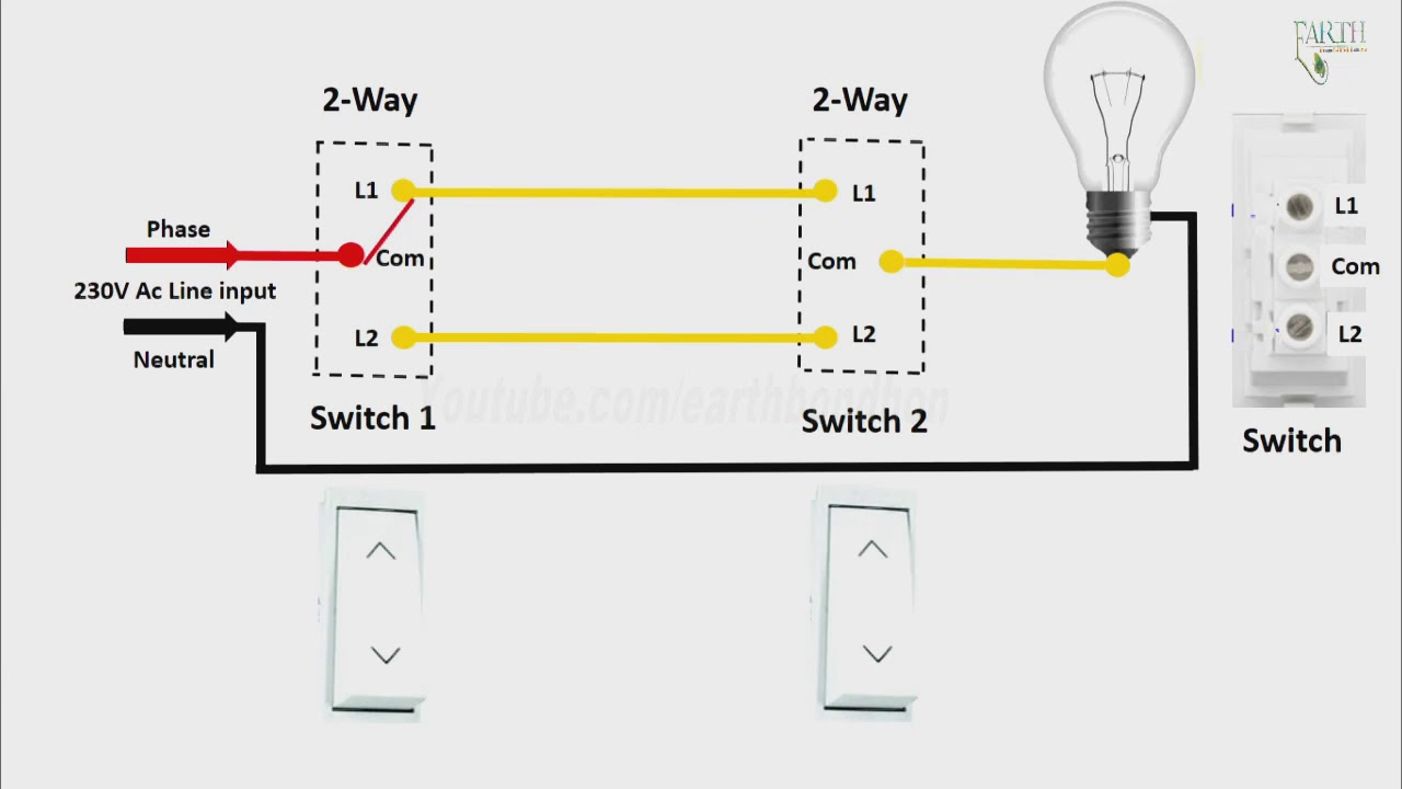 2 Way Light Switch Diagram In Engilsh |2 Way Light Switch Wiring In - 2 Way Light Switch Wiring Diagram