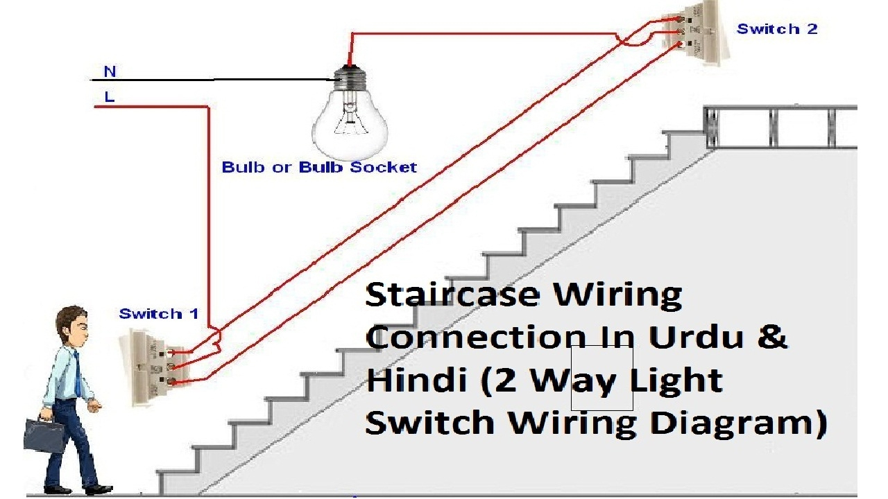 2 Way Light Switch Wiring || Staircase Wiring Connections || In Urdu - Wiring Diagram Light Switch