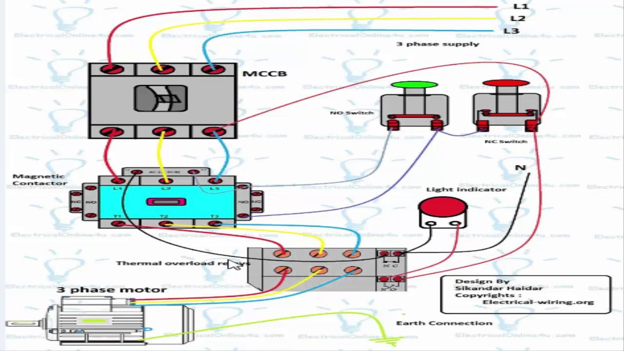 3 Phase Dol Starter Wiring Diagram (Urdu/hindi) - Youtube - 3 Phase Motor Starter Wiring Diagram
