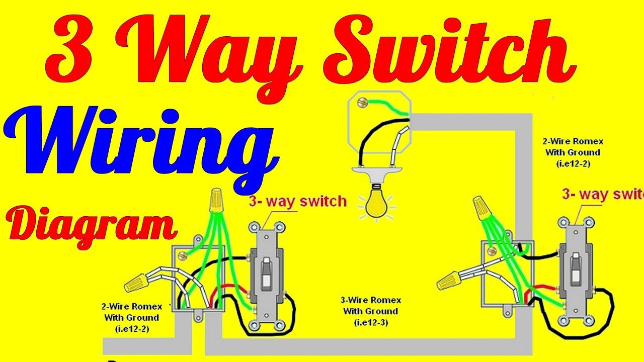 3 Way Switch Wiring Diagrams How To Install - Youtube - Wiring Diagram For 3 Way Switch