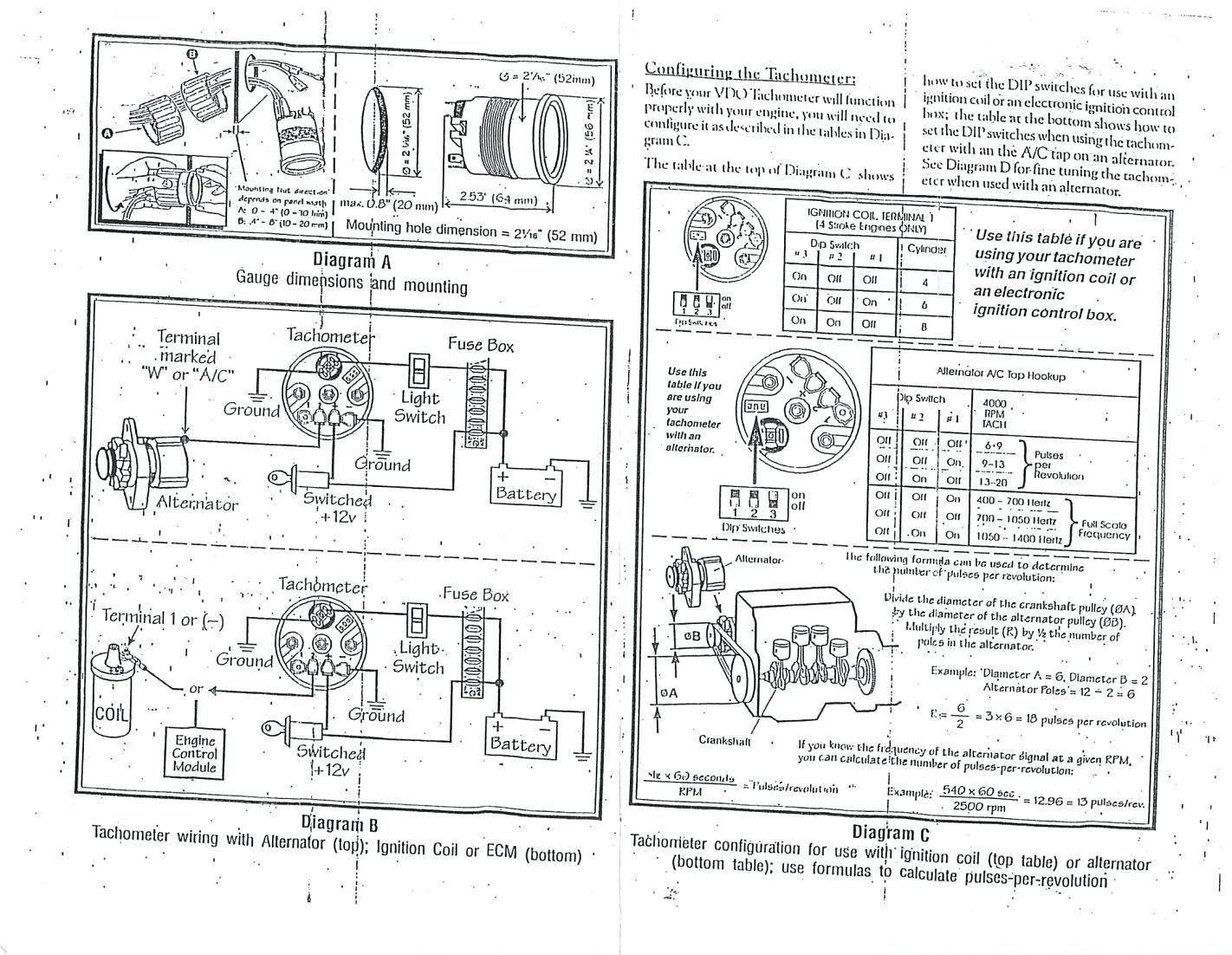 356 Tach Wiring | Wiring Diagram - Tachometer Wiring Diagram