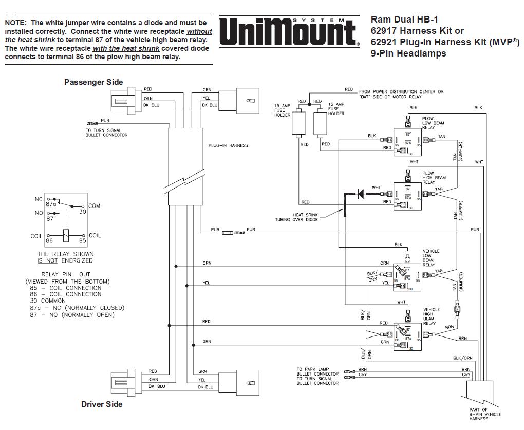 62917 Western Unimount Hb-1 Headlight Harness Kit Dodge Ram 99+ - Boss Plow Wiring Diagram