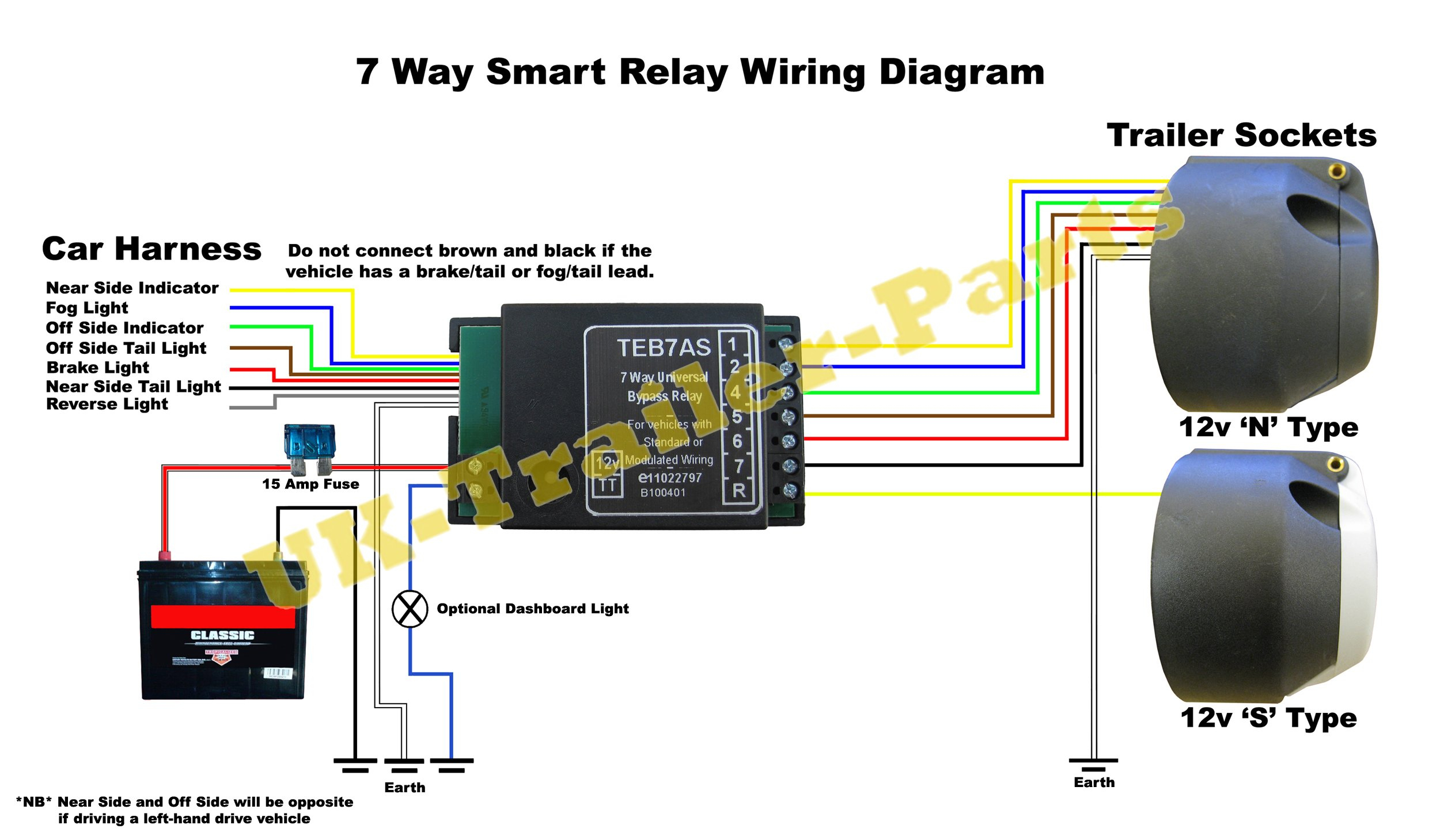7 Way Universal Bypass Relay Wiring Diagram | Uk-Trailer-Parts - 7 Wire Trailer Wiring Diagram