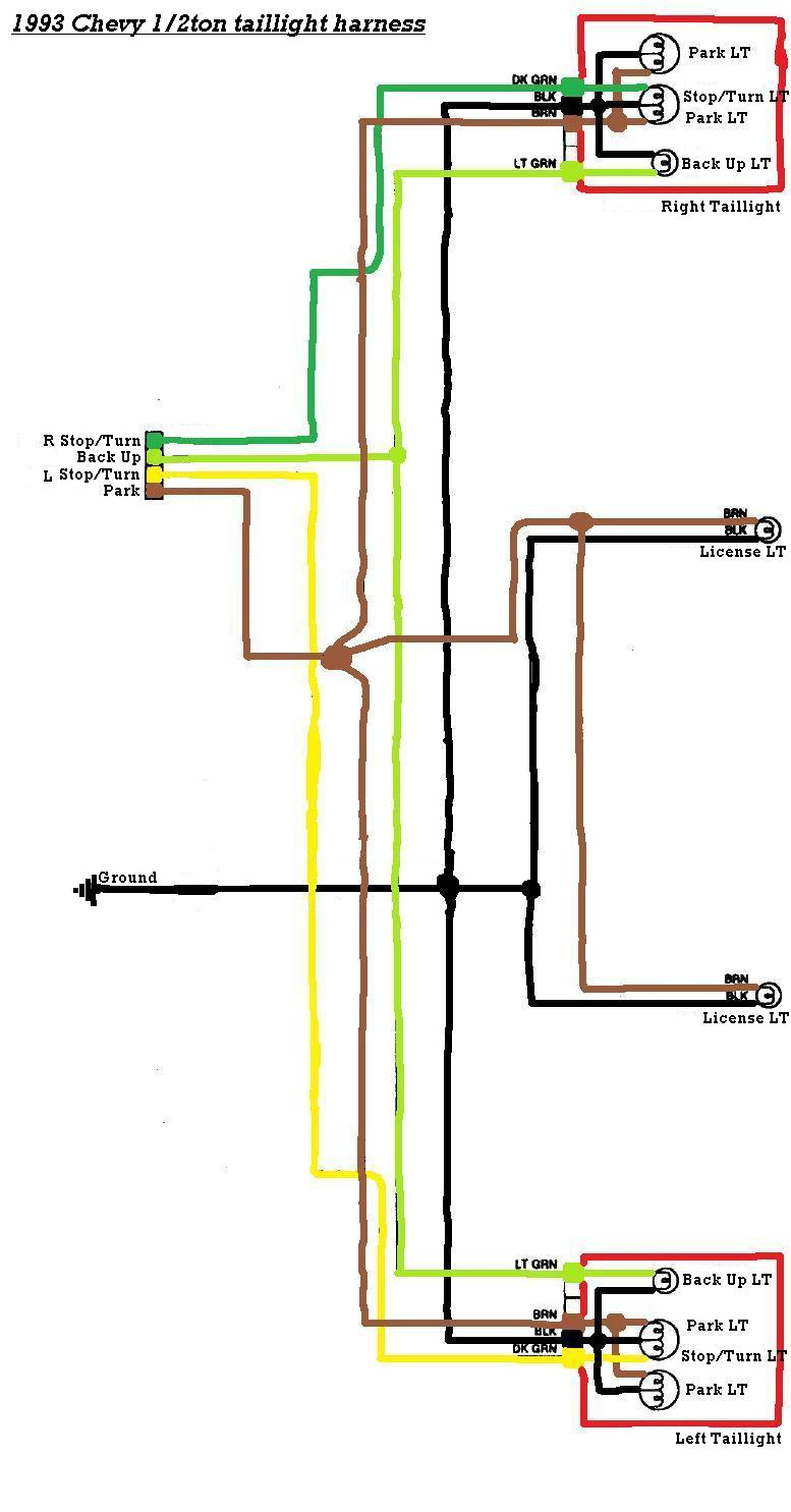 96 Chevy Tail Light Wiring Harness - Wiring Diagram Detailed - Brake Light Wiring Diagram Chevy