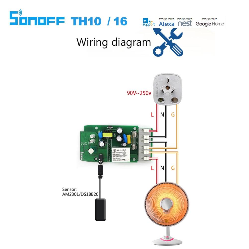 Acheter Sonoff Th16 Smart Wifi Commutateur Surveillance Température - Sonoff Wiring Diagram