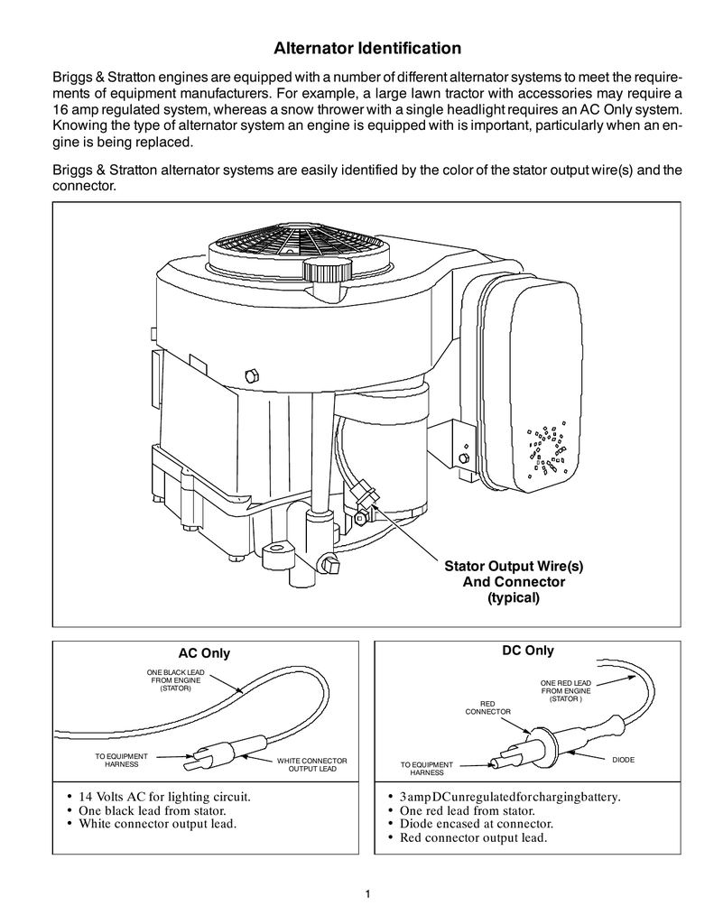 Alternator Identification - Briggs And Stratton Alternator Wiring Diagram