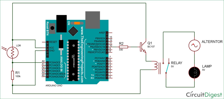 Arduino Light Sensor Circuit Using Ldr - Arduino Wiring Diagram