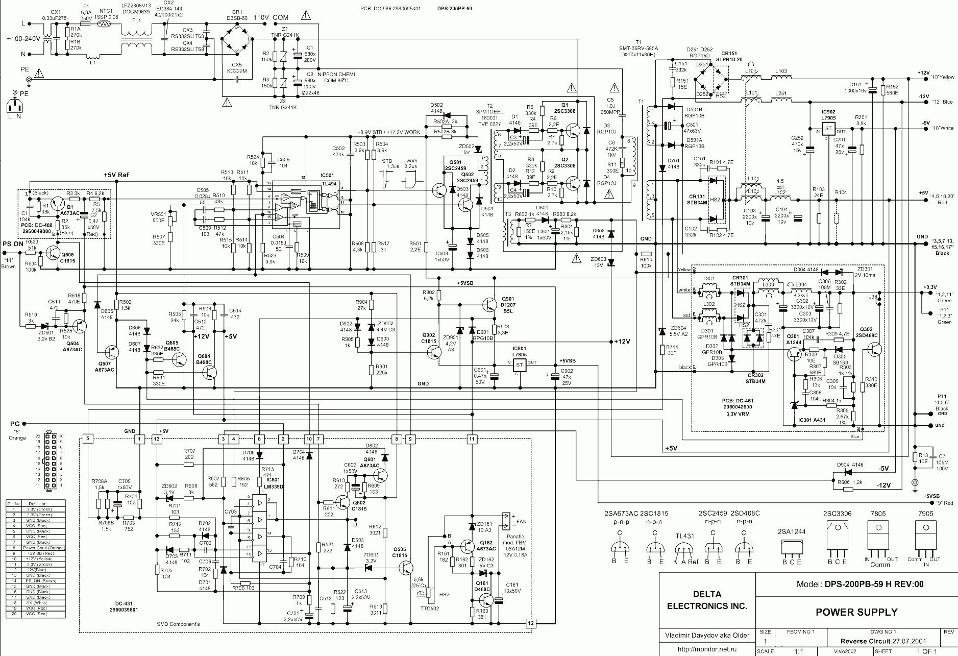 At And Atx Pc Computer Supplies Schematics - Bestec Atx-250-12Z Wiring Diagram