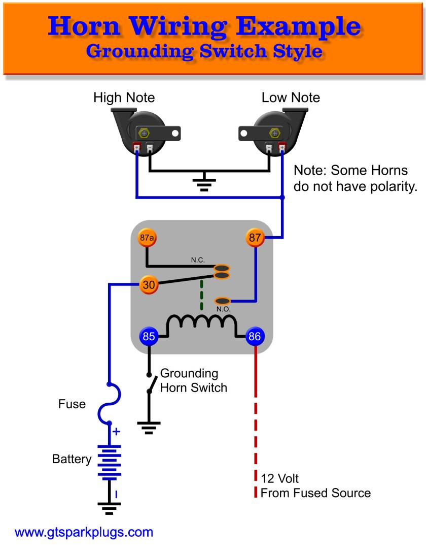 Automotive Horns | Gtsparkplugs - Auto Relay Wiring Diagram