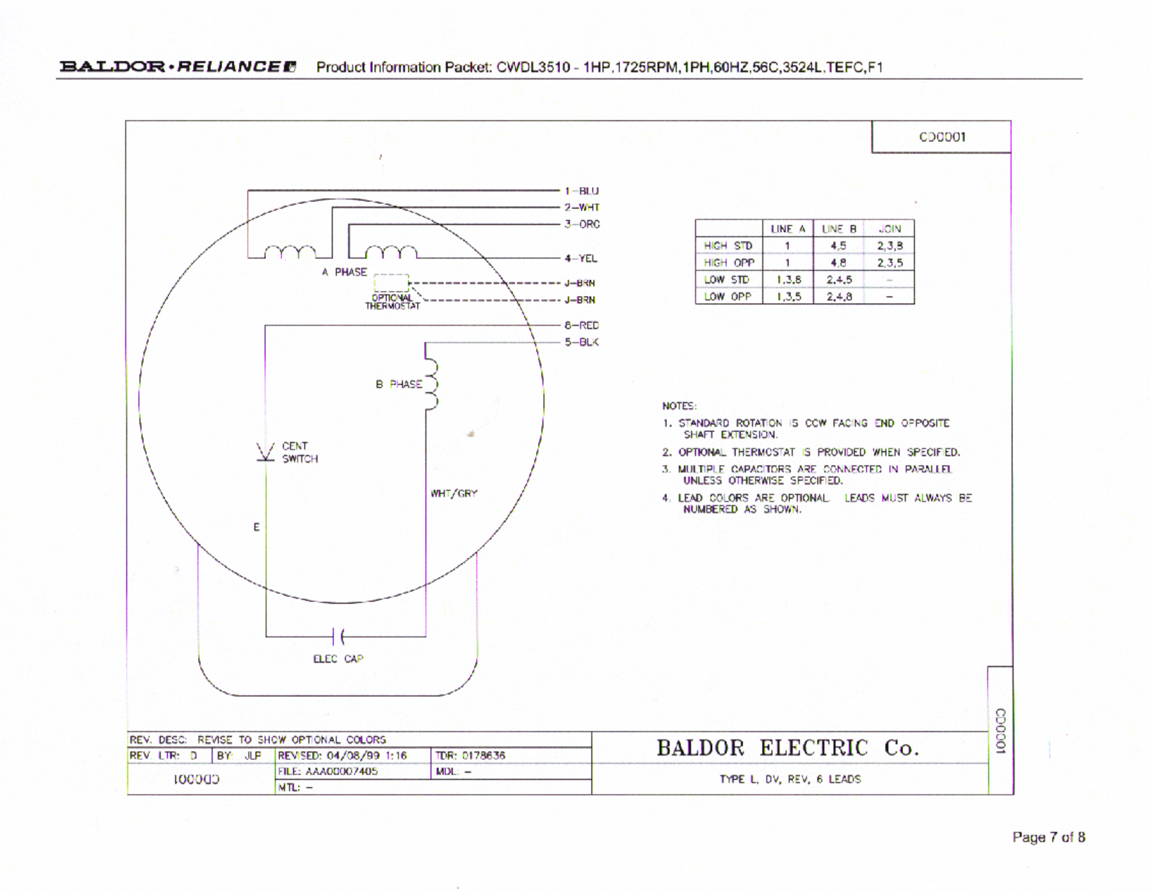 Baldor L1408T Capacitor Wiring Diagram | Manual E-Books - Baldor Motors Wiring Diagram
