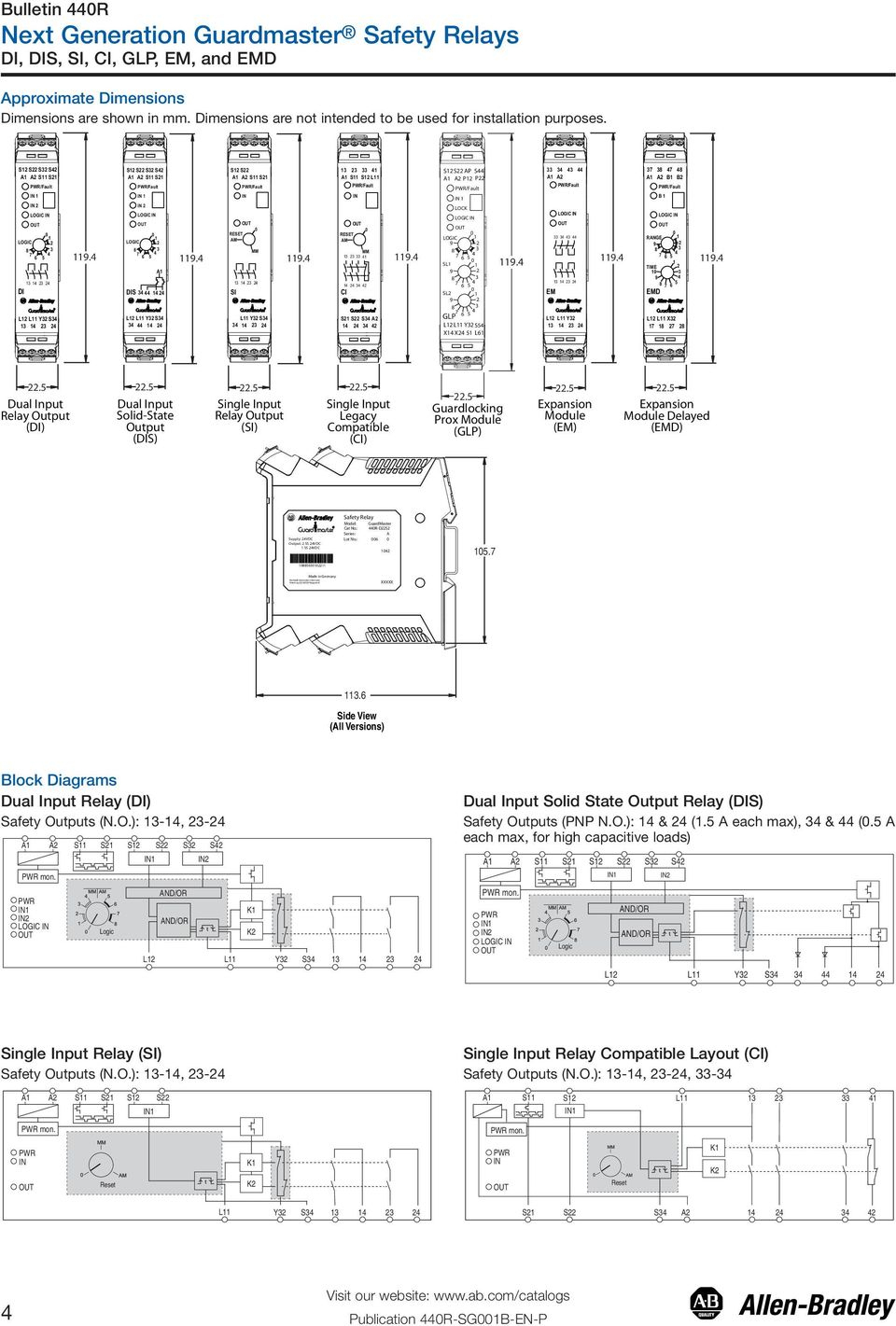 Bul. 440R Guardmaster Safety Relays (Di, Dis, Si, Ci, Glp, Em, And - Allen Bradley Safety Relay Wiring Diagram