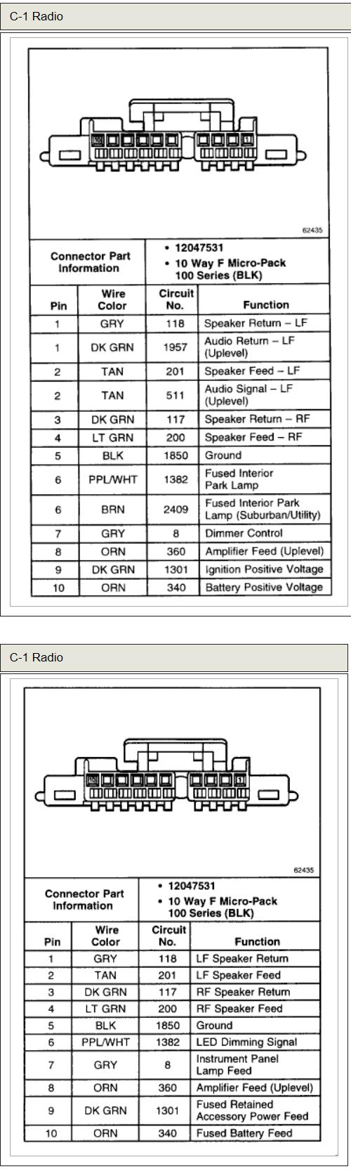 Chevrolet Car Radio Stereo Audio Wiring Diagram Autoradio Connector - 2004 Chevy Tahoe Radio Wiring Diagram