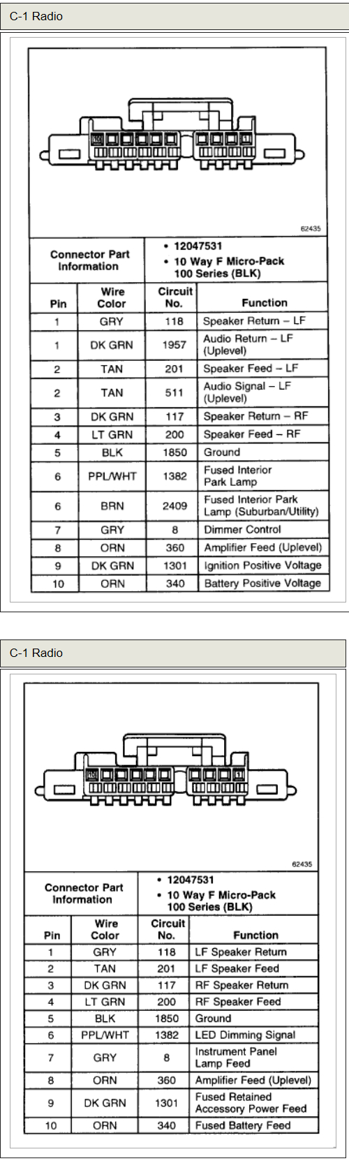 Chevy Tahoe Radio Wiring Diagram | Manual E-Books - 2002 Chevy Tahoe Radio Wiring Diagram
