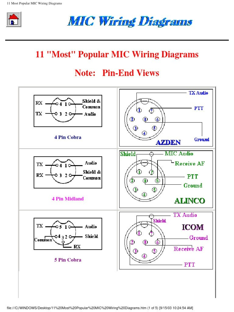 Co Cb Mic Wiring - Free Wiring Diagram For You • - 4 Pin Cb Mic Wiring Diagram