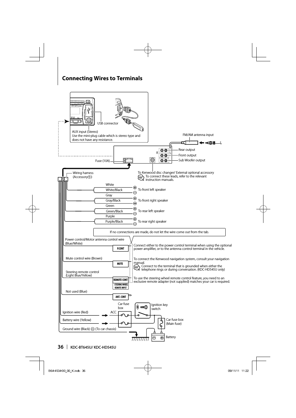 Connecting Wires To Terminals | Kenwood Kdc-Hd545U User Manual - Kenwood Kdc Wiring Diagram