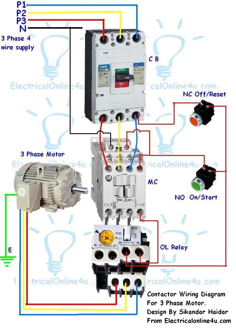 Contactor Wiring Guide For 3 Phase Motor With Circuit Breaker - 3 Phase Motor Starter Wiring Diagram