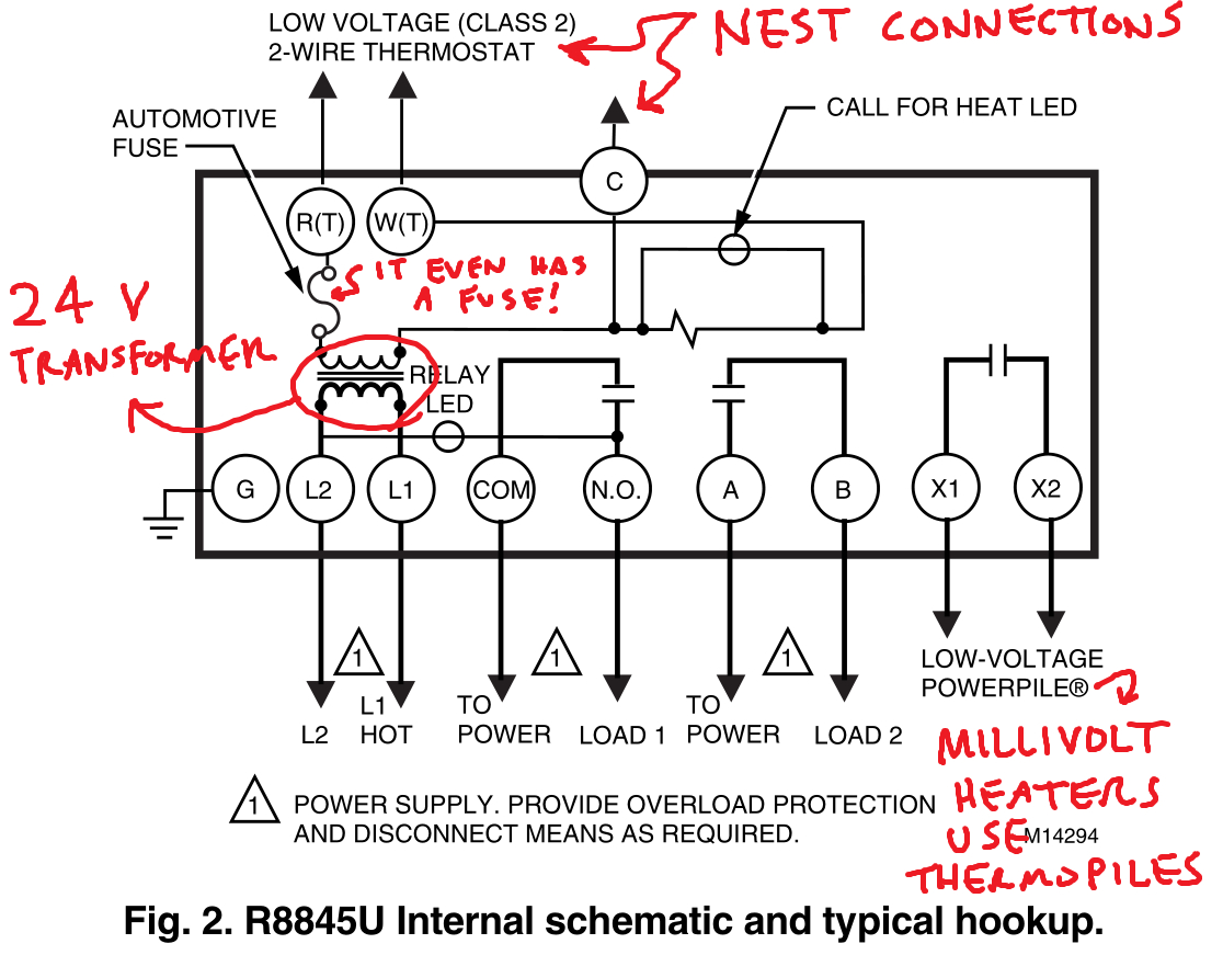 Controlling An Ancient Millivolt Heater With A Nest - 4 Wire Thermostat Wiring Diagram