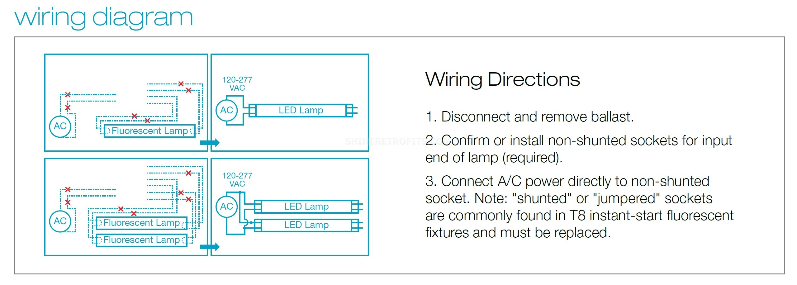 Eiko Led9Wt8F/24/835K-G4D 9 Watt 2 Foot Dlc Listed Led T8 Linear - T8 Led Tube Wiring Diagram