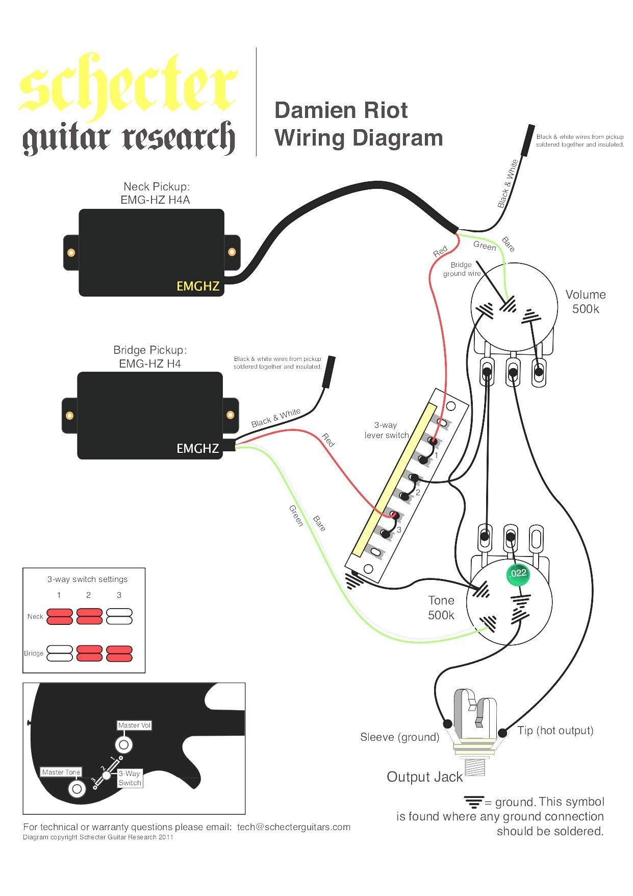 Emg Wiring Guide - Data Wiring Diagram Schematic - Humbucker Wiring Diagram