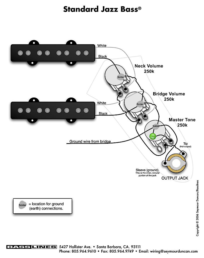 Fender Jazz Bass | Guitar Wiring Diagrams | Guitar, Bass, Fender - Fender Jazz Bass Wiring Diagram