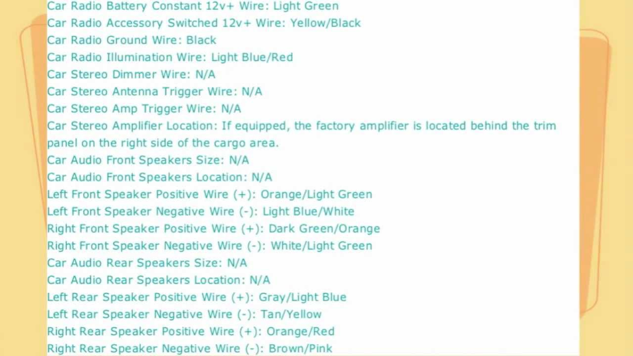 Ford Explorer Stereo Wire Diagram 1998 To 2005 - Youtube - 2005 Ford Explorer Radio Wiring Diagram