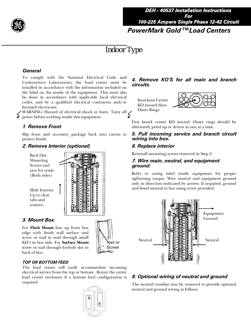 Ge Industrial Solutions Power Mark Gold Load Centers User Manual | 4 - Ge Powermark Gold Load Center Wiring Diagram