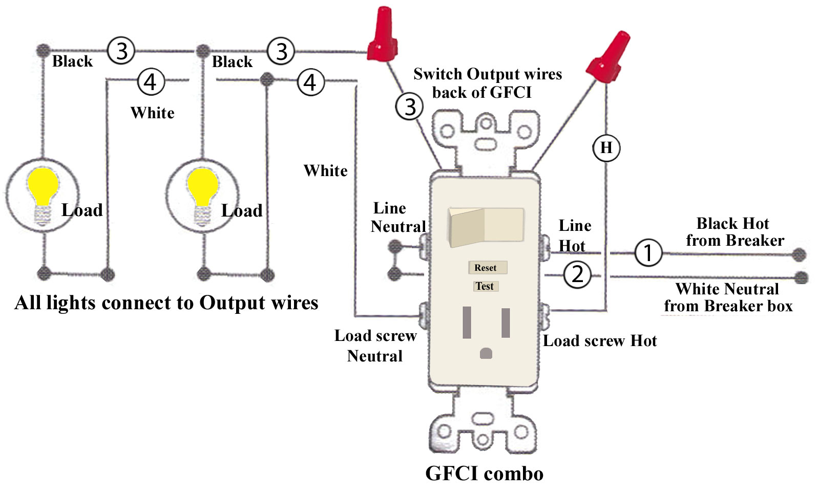 Gfci Outlet Wiring Diagram Combo Switch | Wiring Diagram - Gfci Outlet With Switch Wiring Diagram