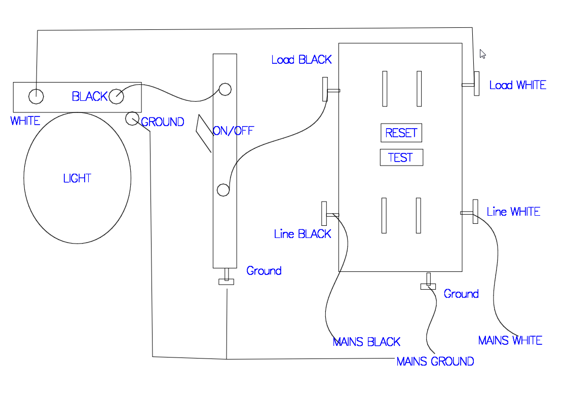 Gfci Receptacle With A Light Fixture With An On/off Switch In - Gfci Outlet With Switch Wiring Diagram
