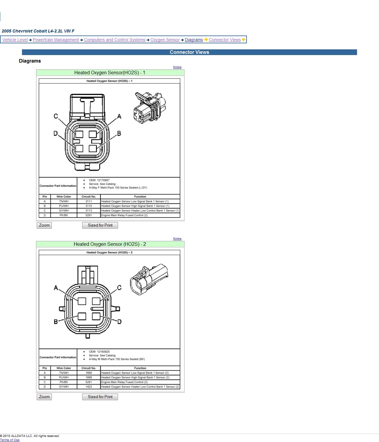 Gm O2 Sensor Wiring Diagram | 2005 Chevrolet Cobalt: Oxygen Sensor - O2 Sensor Wiring Diagram