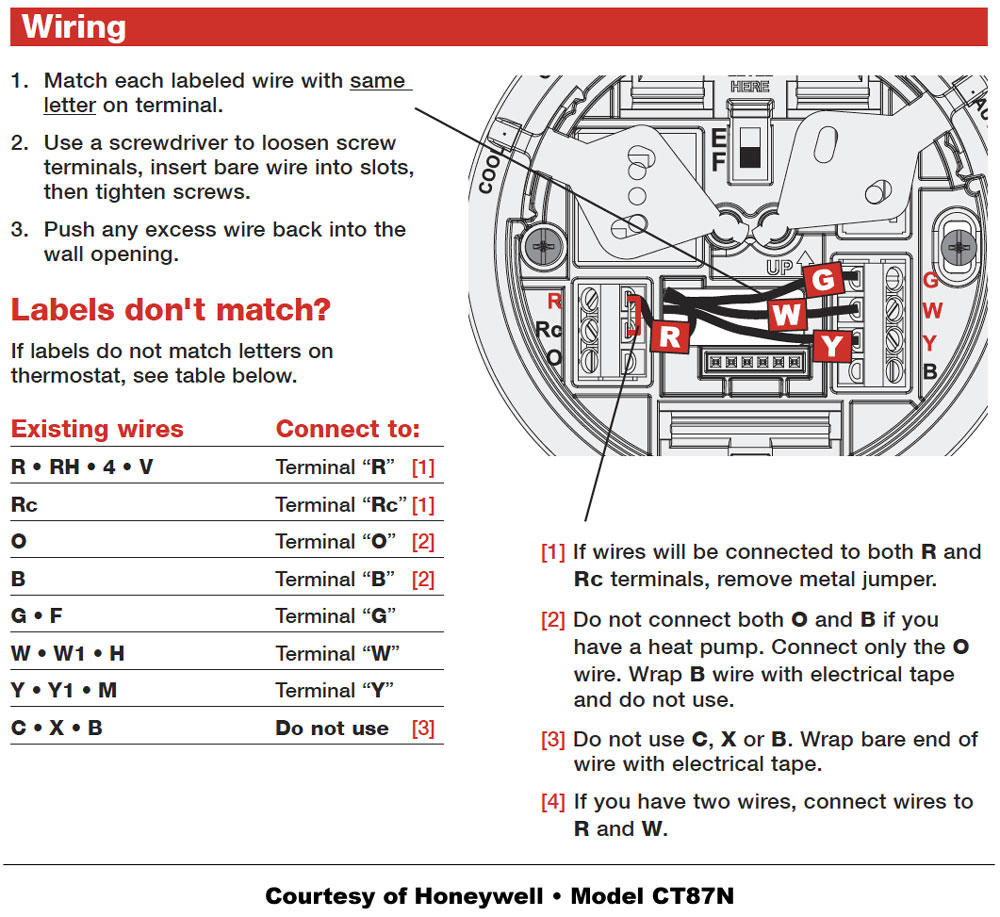 Honeywell 4 Wire Thermostat Wiring Diagram | Manual E-Books - 4 Wire Thermostat Wiring Diagram