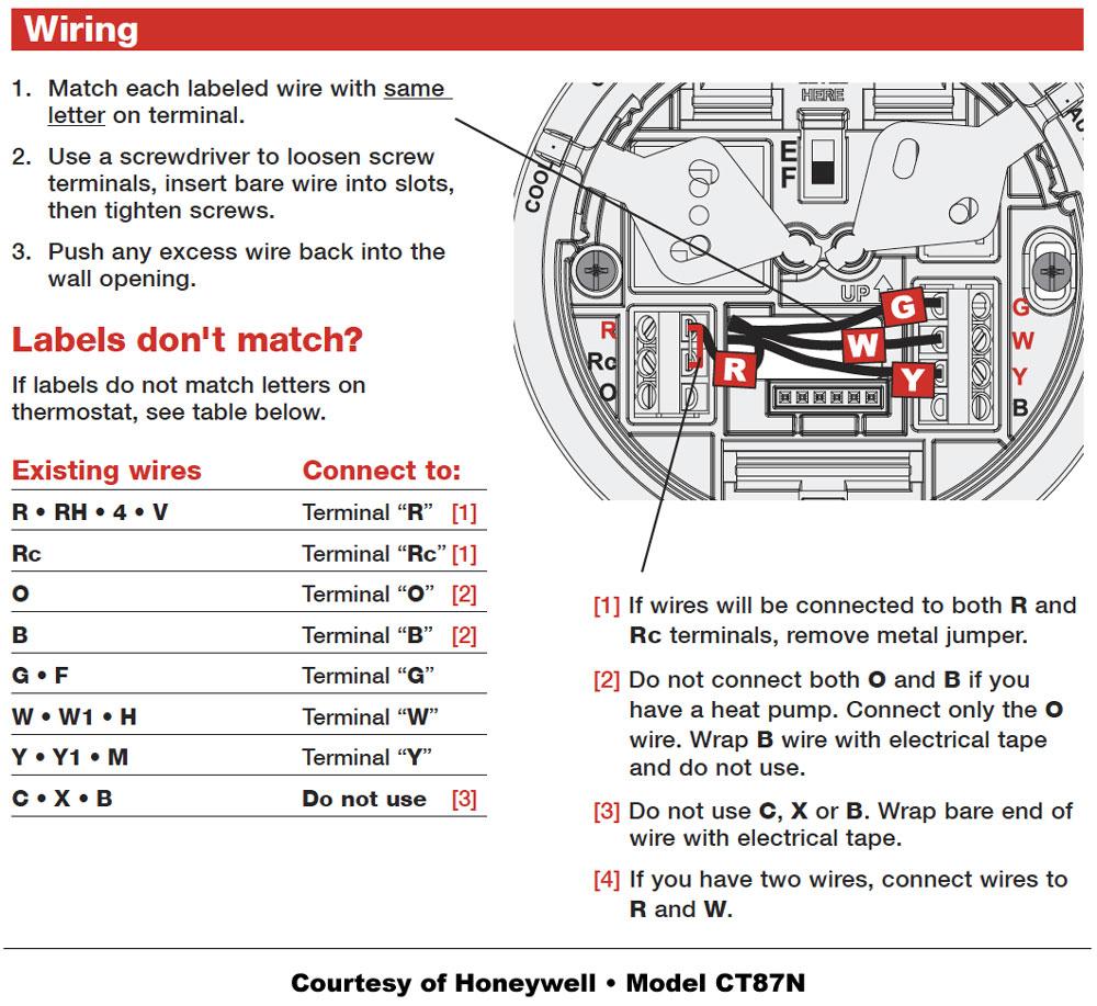 Honeywell Thermostat Wiring Instructions | Diy House Help - Wiring Diagram For Honeywell Thermostat