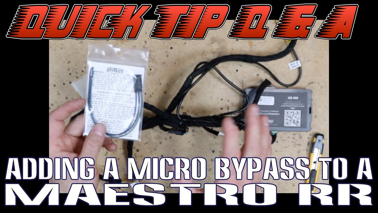 How To Add A Micro Bypass To A Maestro Rr Harness For A Pioneer - Maestro Rr Wiring Diagram