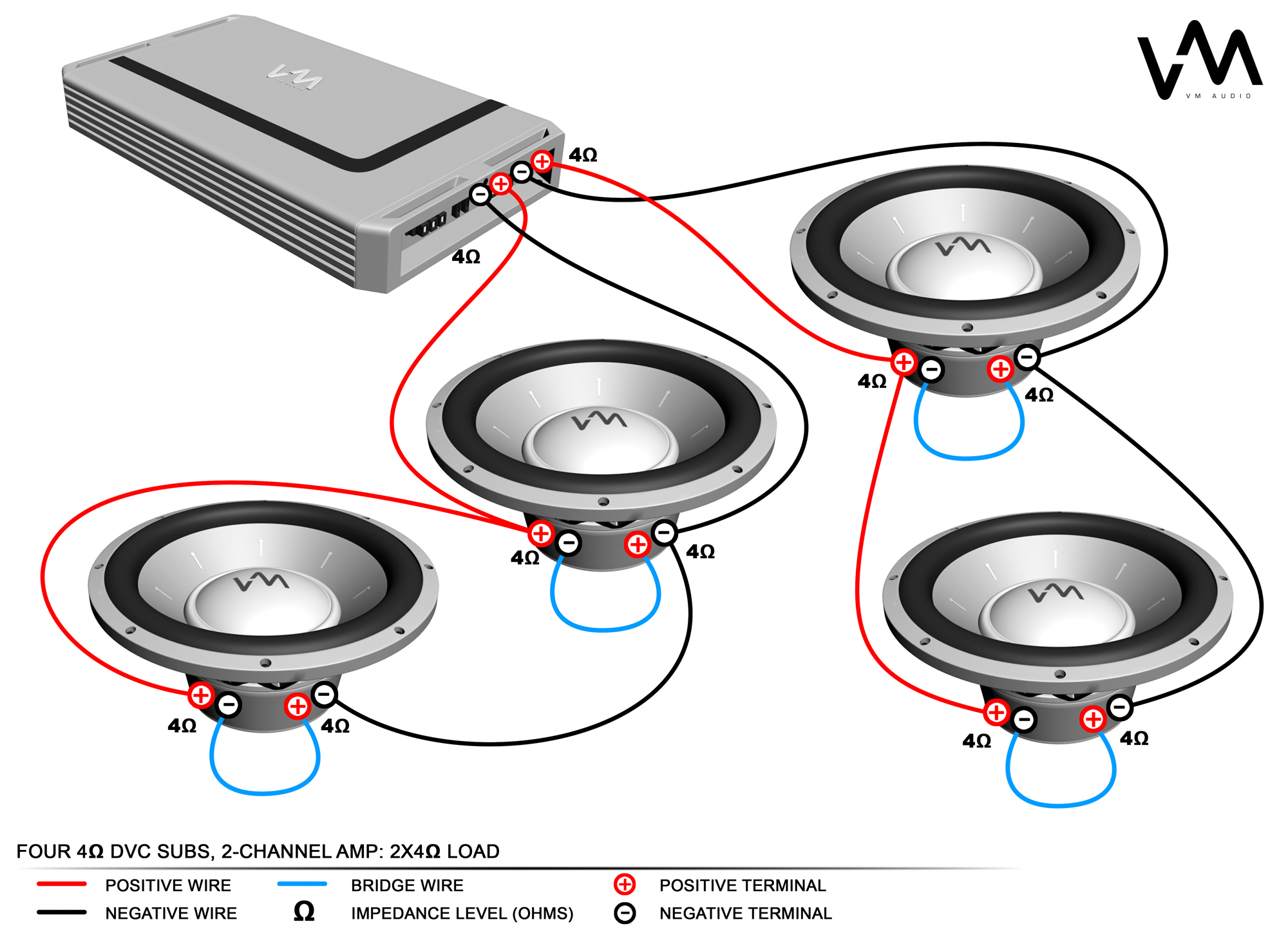 How To Connect Four Speakers To A 2-Channel Amp - - 2 Channel Amp Wiring Diagram