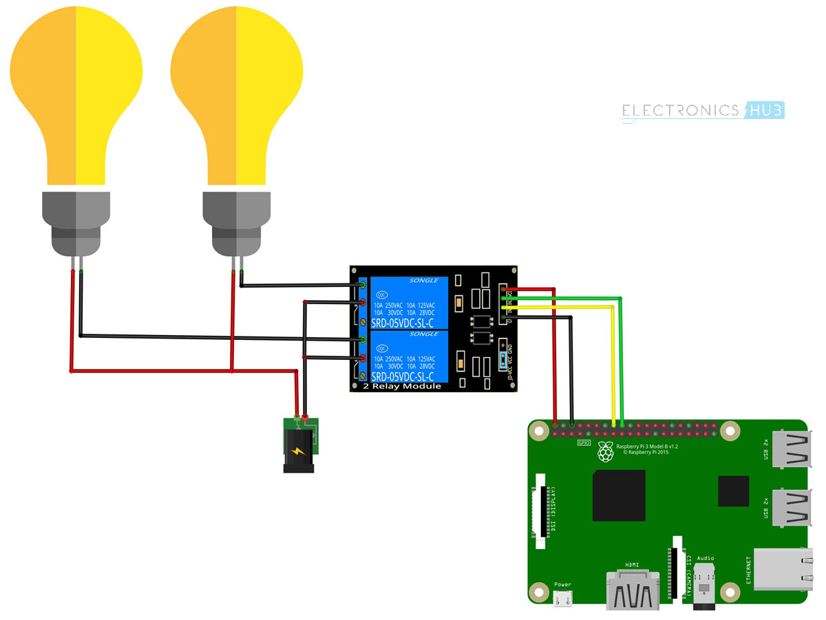 How To Control A Relay Using Raspberry Pi | Electronics Hub - Relay Switch Wiring Diagram