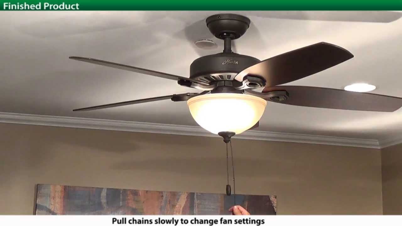 How To Install A Hunter 5Xxxx Series Model Ceiling Fan - Youtube - Hunter Ceiling Fan Wiring Diagram With Remote Control