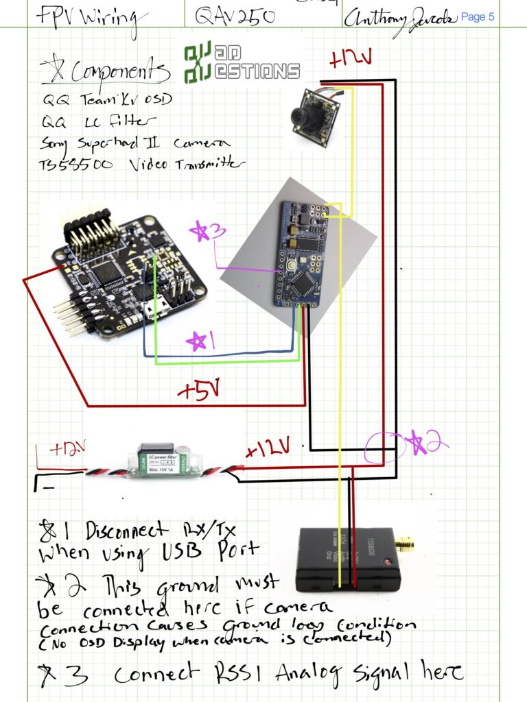 How To Setup Quadcopter Fpv Wiring On Your Qav250 Or Other Drone - Fpv Camera Wiring Diagram