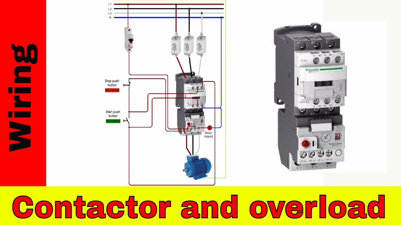 How To Wire A Contactor And Overload - Direct Online Starter. - Youtube - 3 Phase Contactor Wiring Diagram Start Stop
