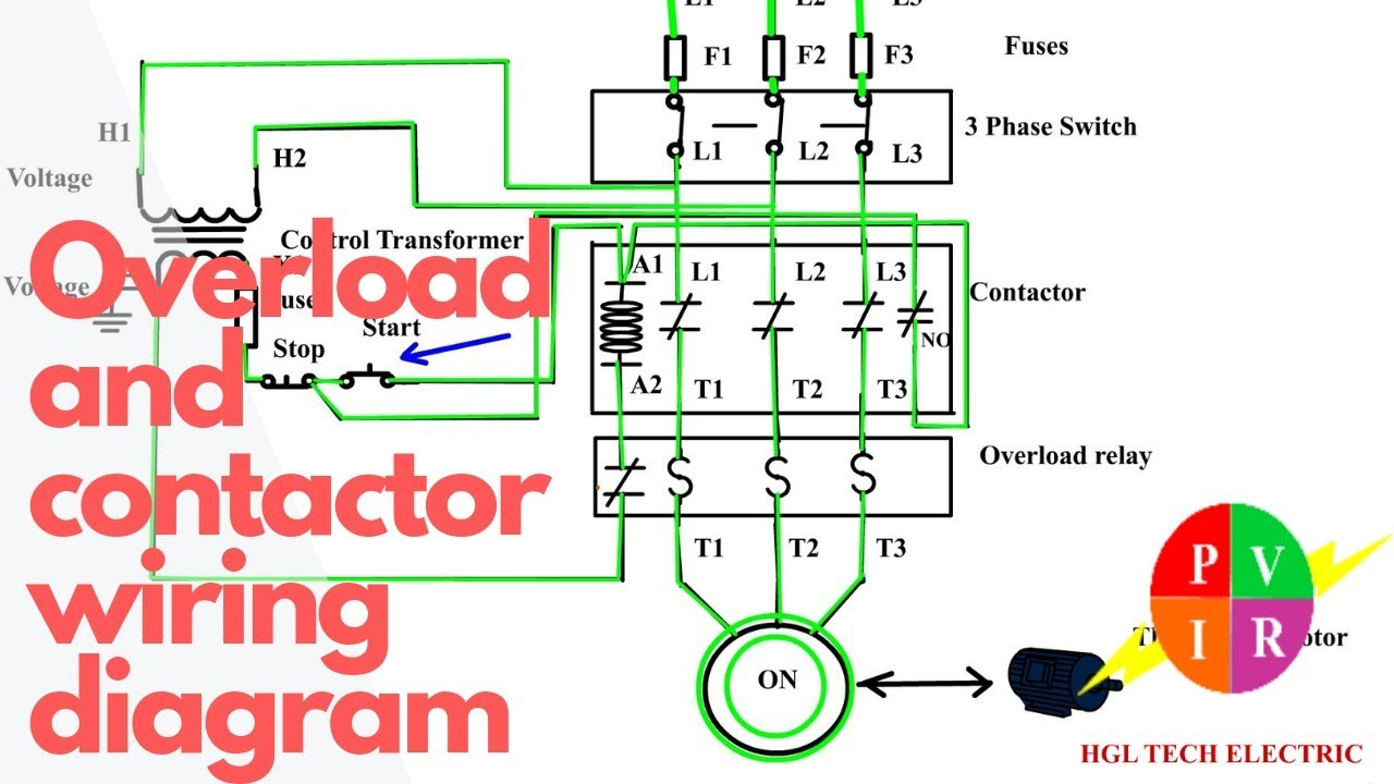 How To Wire A Contactor And Overload. Start Stop 3 Phase Motor - 3 Phase Contactor Wiring Diagram Start Stop