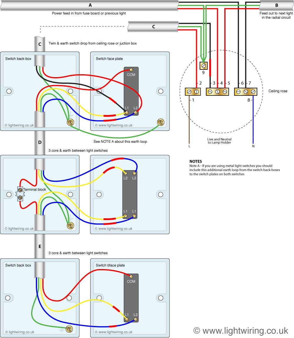 How To Wire A Three Way Switch | Light Wiring - 3 Way Switching Wiring Diagram
