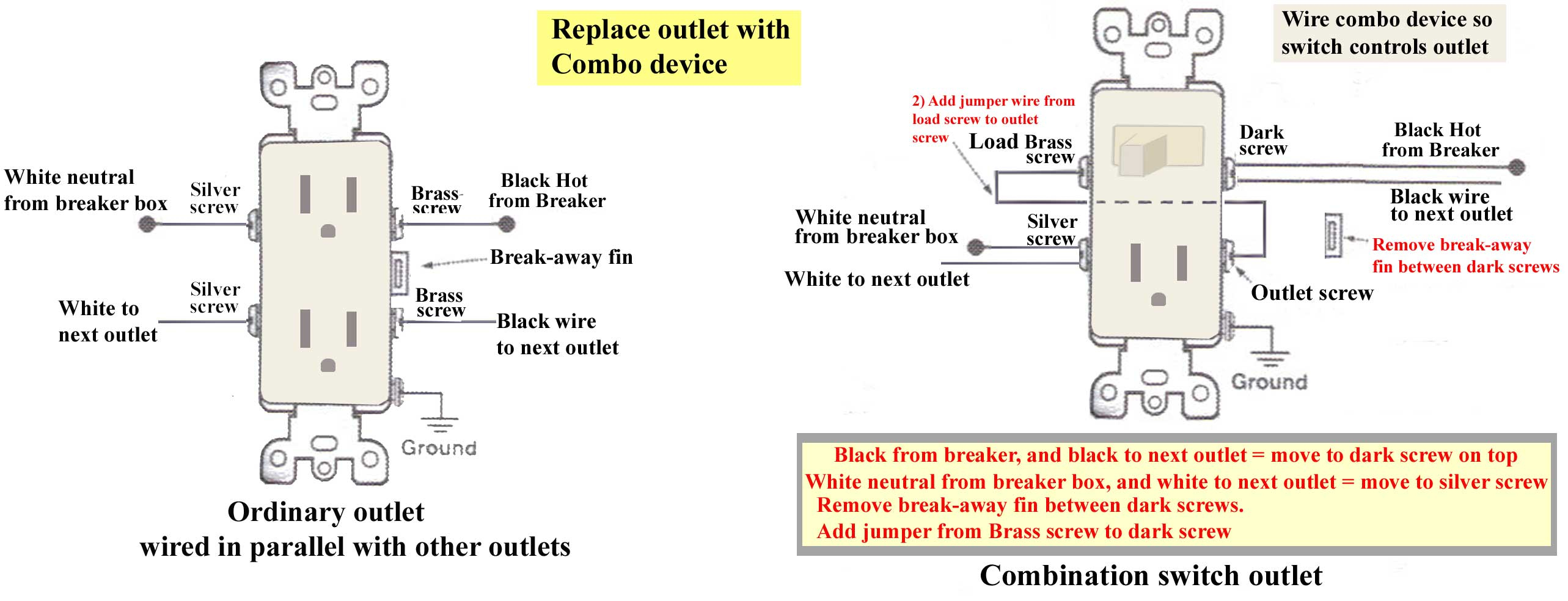 How To Wire Combination Switch Outlet - Switch Outlet Wiring Diagram