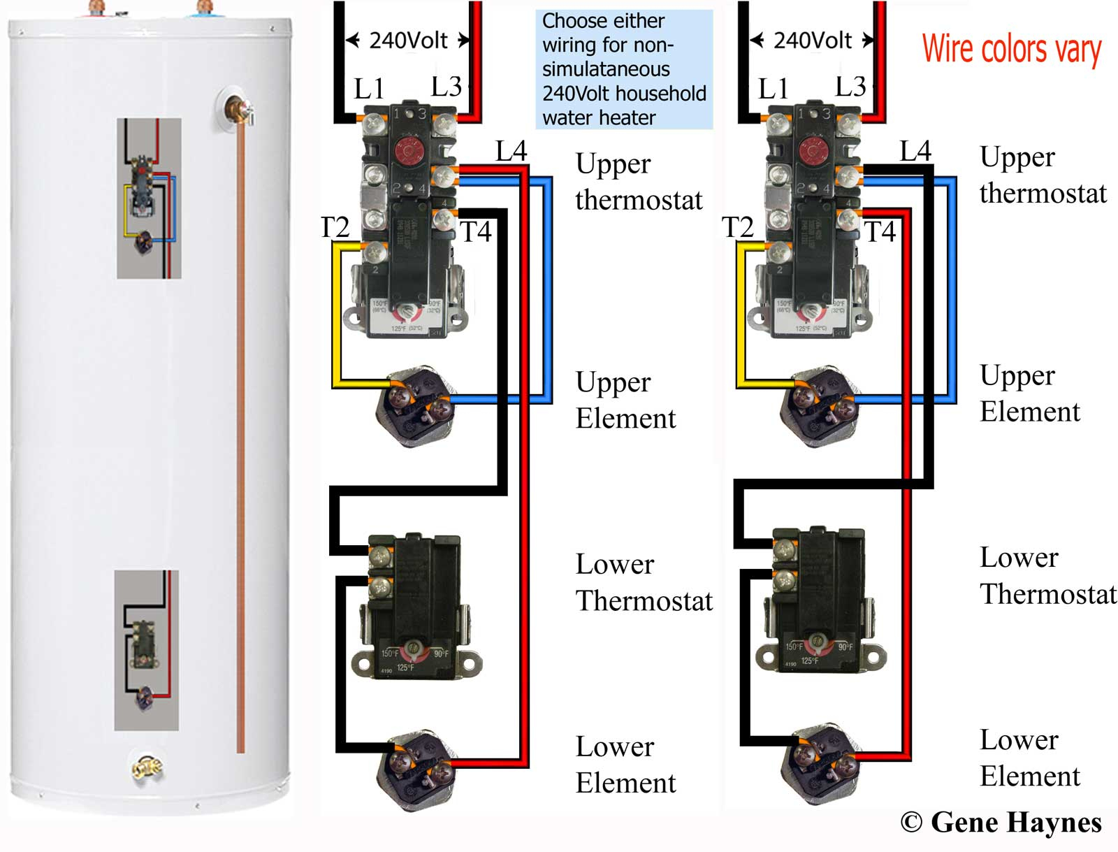How To Wire Water Heater Thermostats - Water Heater Wiring Diagram Dual Element