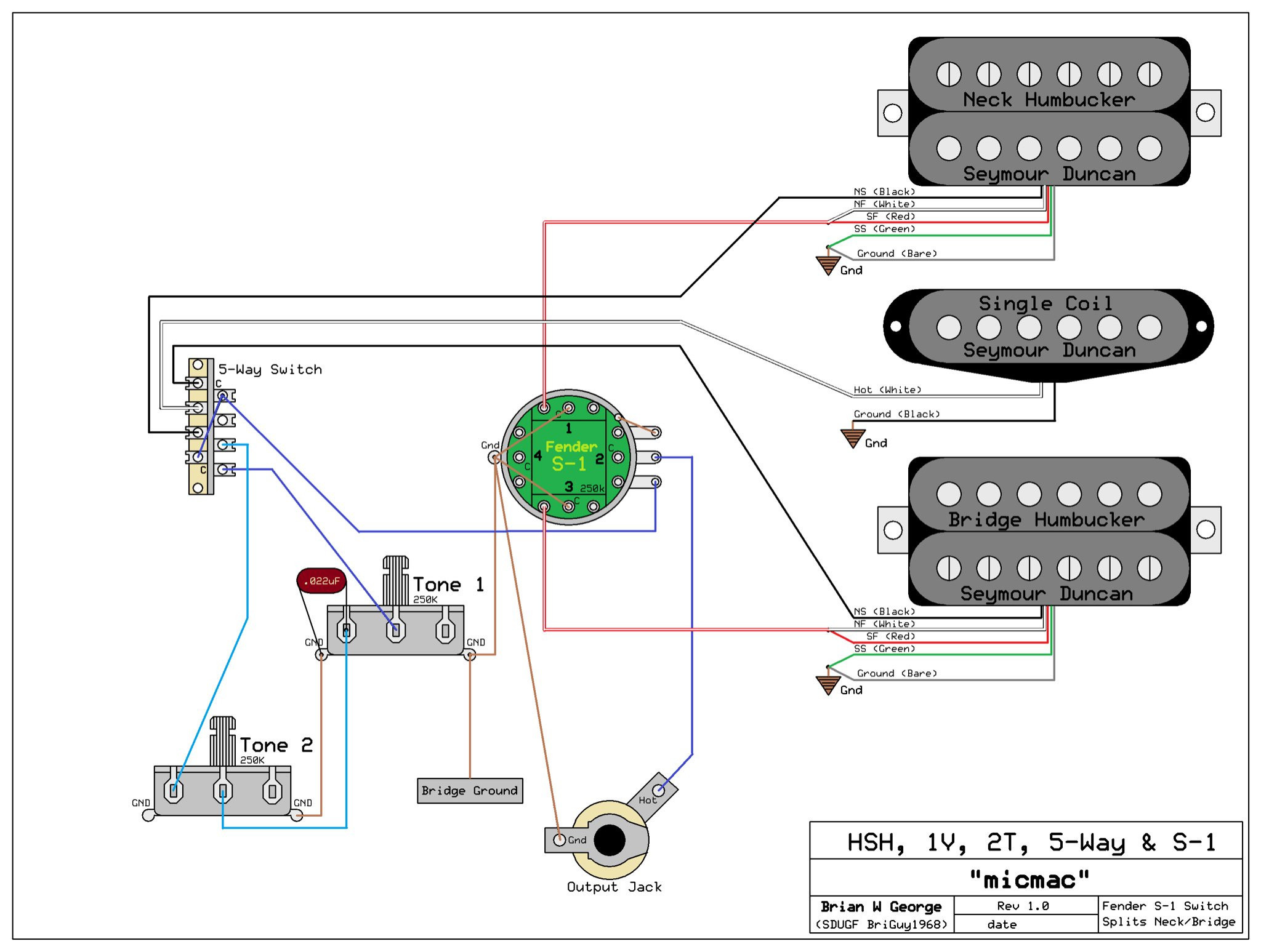 Hsh Wiring Diagram Guitar Perfect Wiring Diagram For 5 Way Guitar - Hsh Wiring Diagram