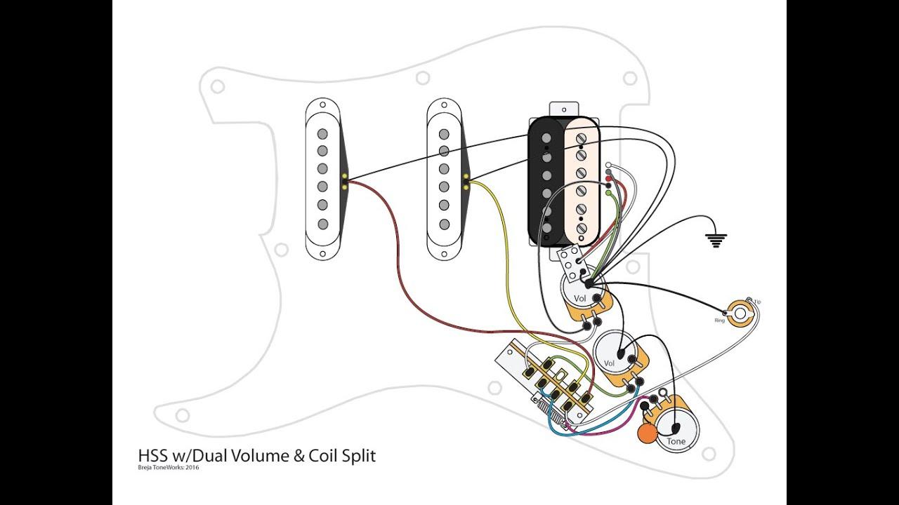 Hss Guitar W/dual Volumes, Master Tone And Coil Split - Youtube - Hss Wiring Diagram Coil Split