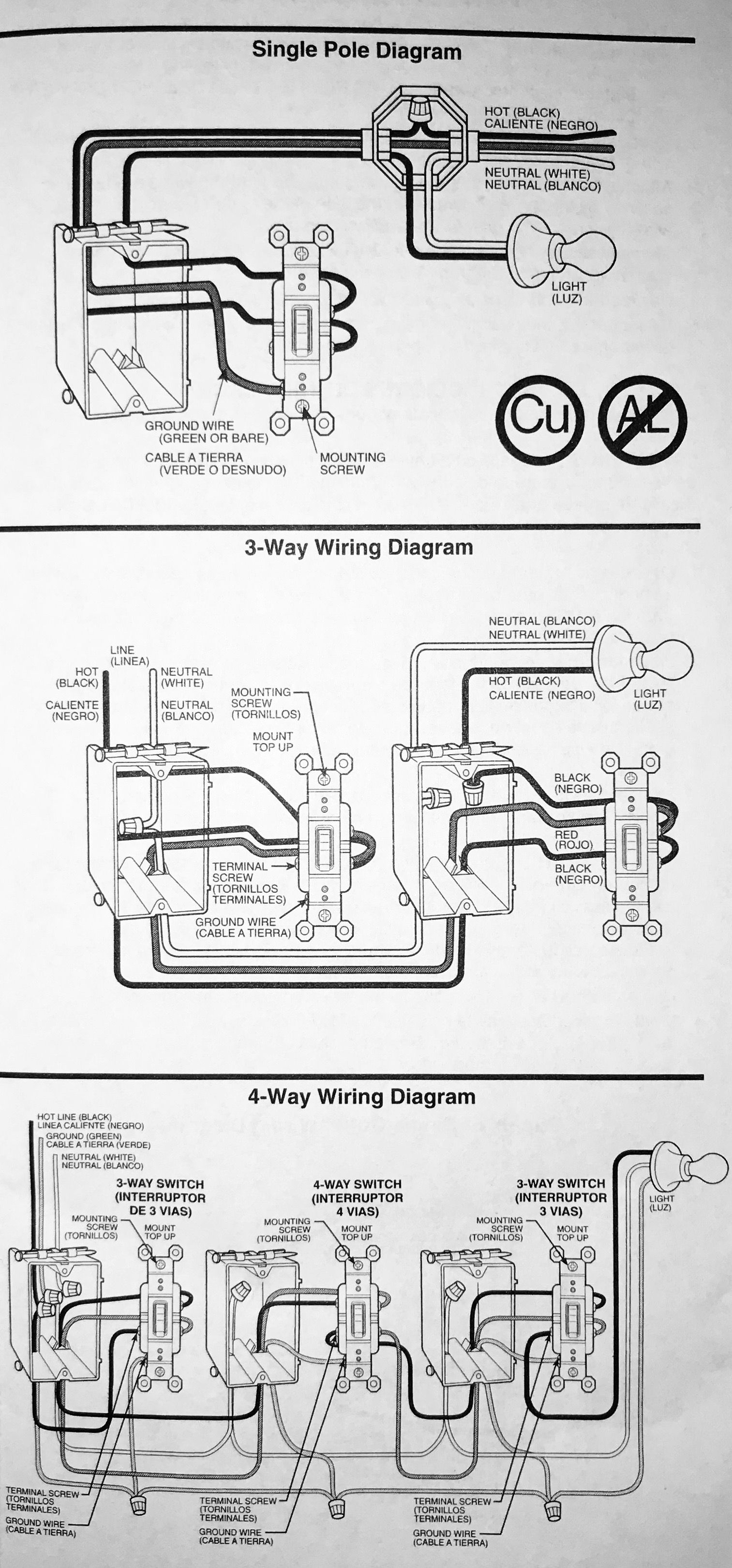 Installation Of Single Pole, 3-Way, & 4-Way Switches - Wiring - 3 Way Switch Single Pole Wiring Diagram